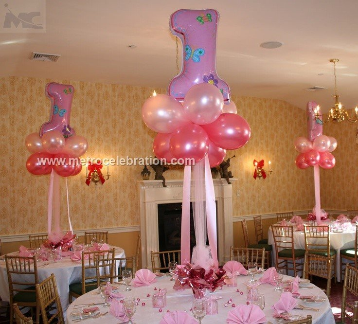 Pink foil balloons as per 1st birthday theme ideas