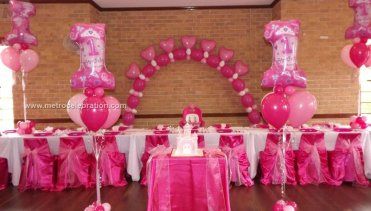 Birthday Theme Ideas Beautiful Gas Ballons Arch With Foil Balloons Columns Both Side Of Cake Table